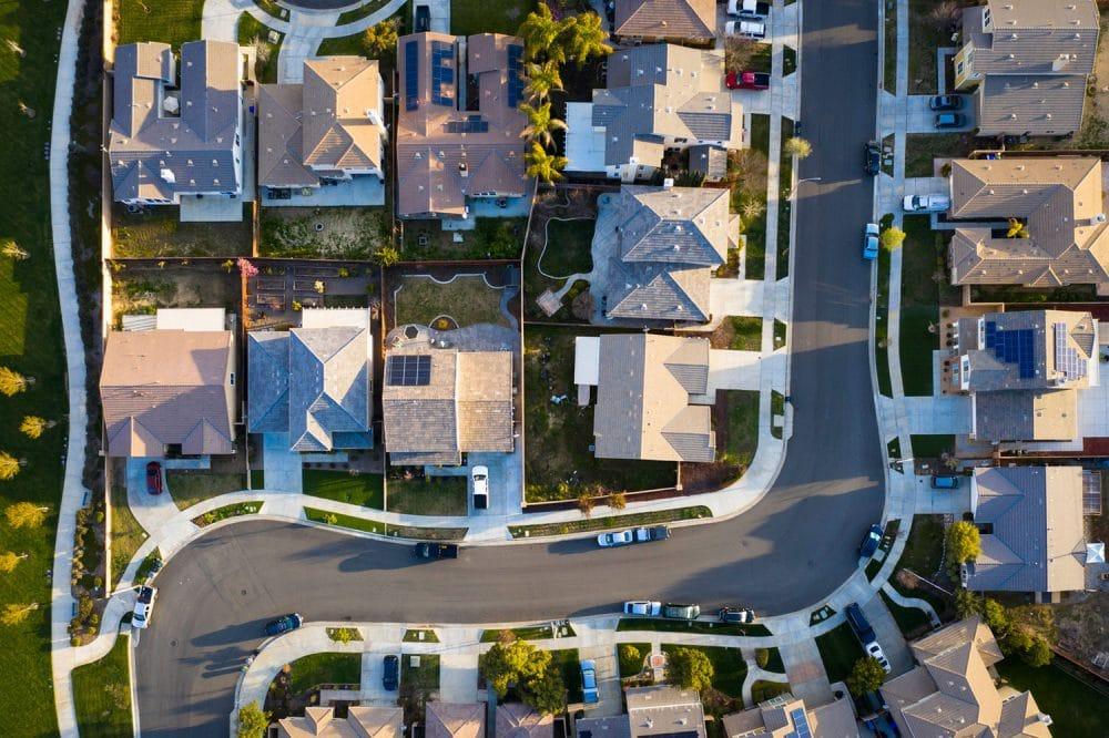 Ariel view of California Neighborhood